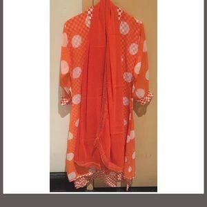 Orange small polka dot layered midi dress / Kurta